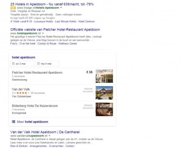 Google Hotel Finder in Nederland