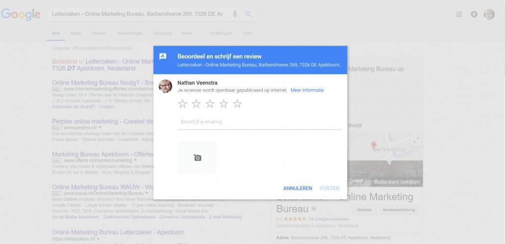 Dit krijgt een ingelogde Google-gebruiker te zien bij de directe link naar jouw Google reviews