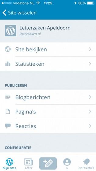 WordPress iOS app - blogs dicteren