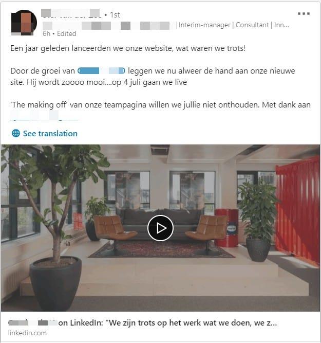 Bericht op LinkedIn waarin een nieuwe website wordt aangekondigd, slechts 1 jaar nadat de website gelanceerd is.