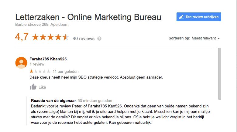 Negatieve review op Google met mijn reactie waaruit blijkt dat het geen echte klant was.