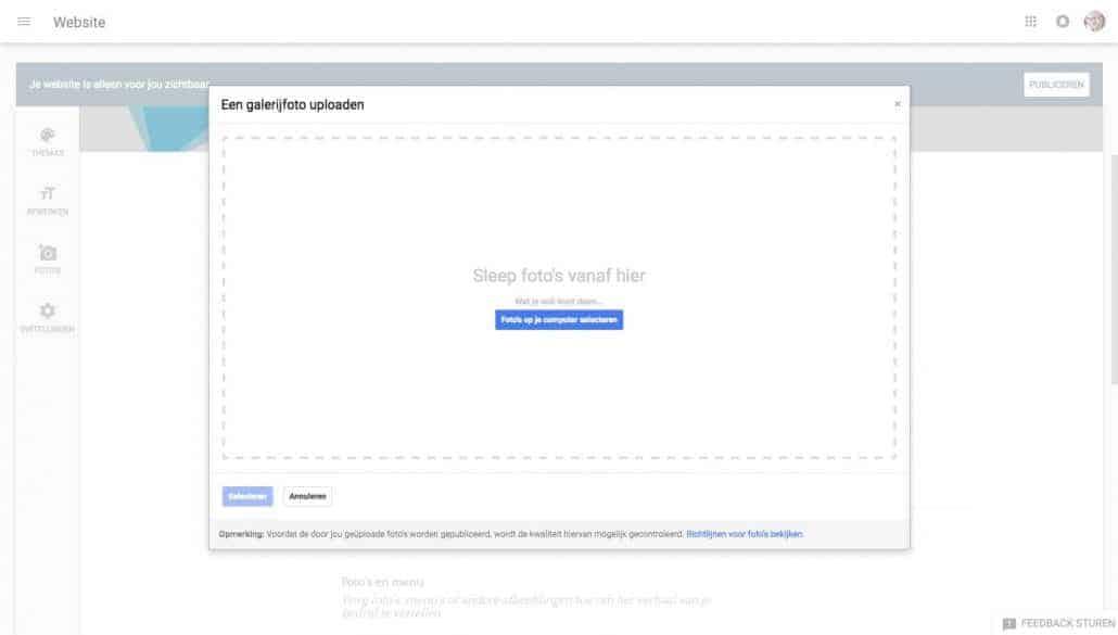 Stap 10: voeg foto's toe om je gratis website meer body te geven