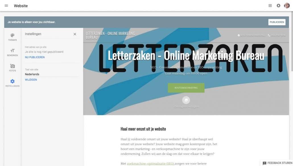 Jouw gratis website stap 11: instellingen, zoals taal