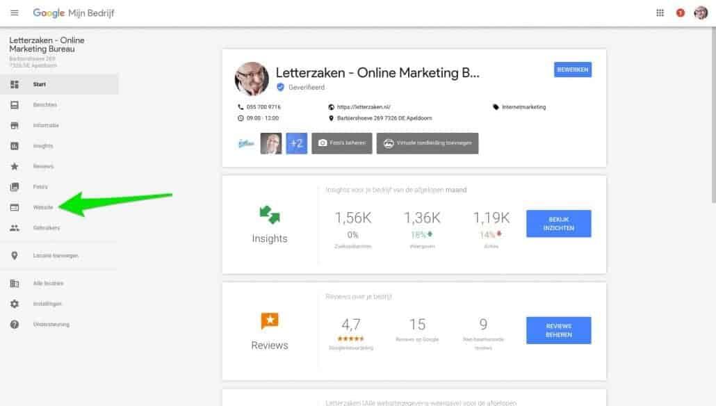 Jouw gratis website stap 3: kies in het dashboard voor 'Website'