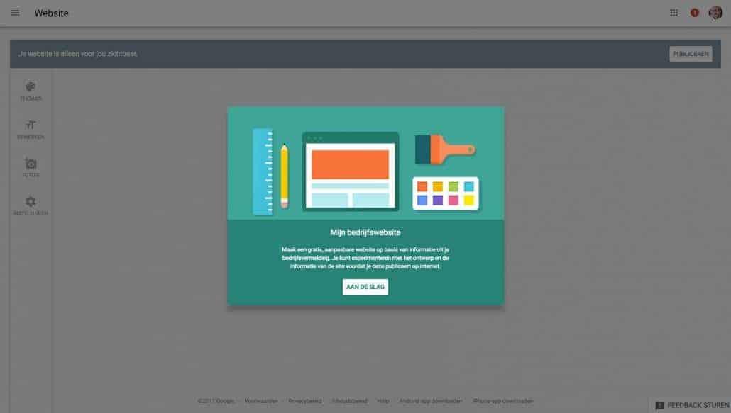 Jouw gratis website stap 4: je komt op de pagina 'Mijn bedrijfswebsite'