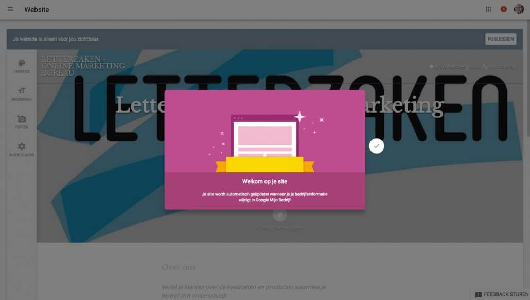 Jouw gratis website stap 5: daar is 'ie - jouw gratis bedrijfswebsite