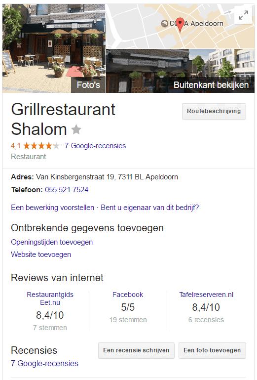 Met 7 recensies toch geen quotes bij recensies in Google voor dit grillrestaurant