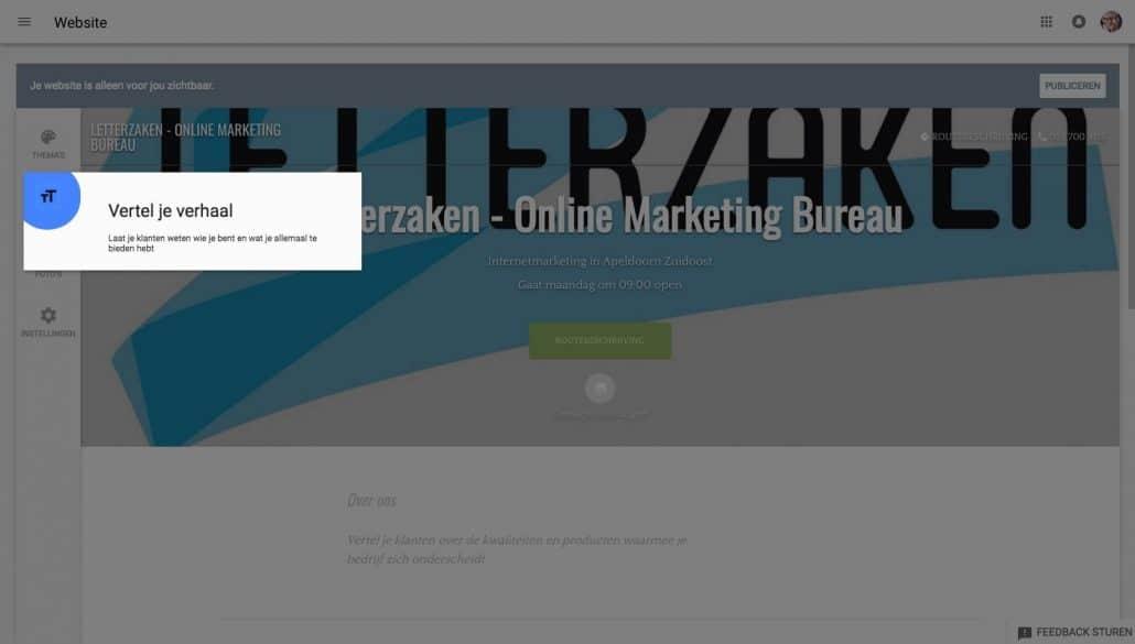 Jouw gratis website stap 8: vertel iets over jouw bedrijf
