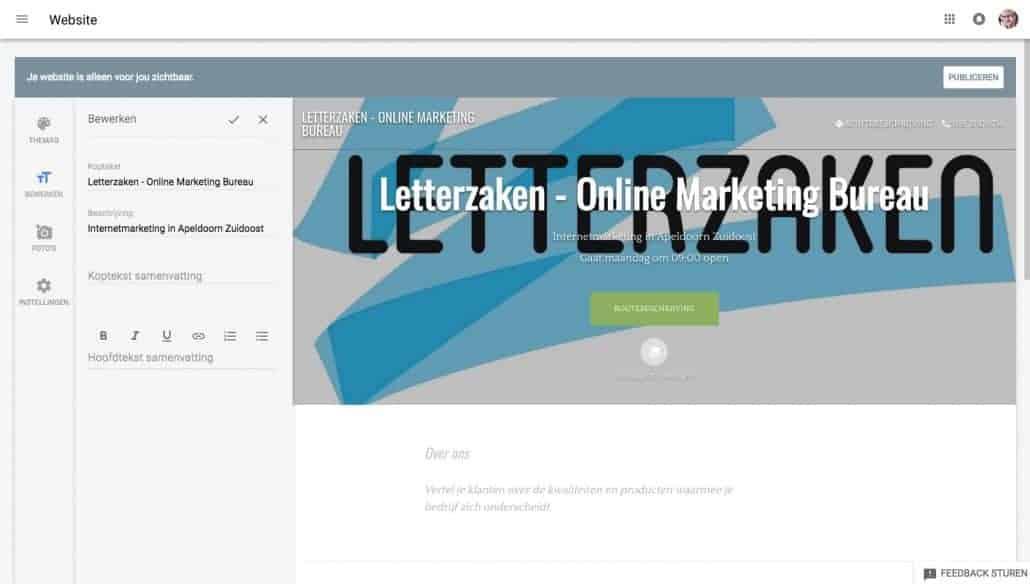 Jouw gratis website stap 8: bewerk de informatie uit Google Mijn Bedrijf voor jouw eigen website