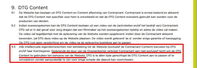 Voorwaarden DTG website: contentlicentie