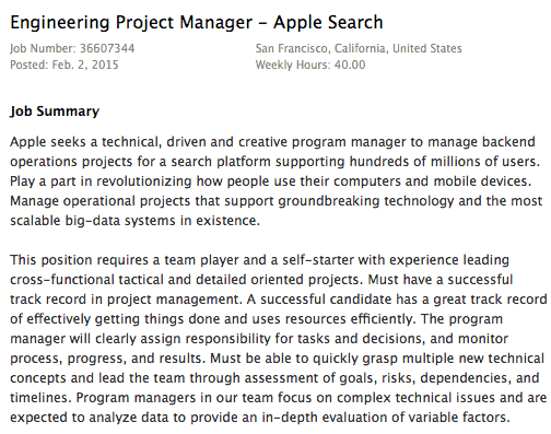Vacature Apple Search 'Engineering Project Manager' in februari 2015.