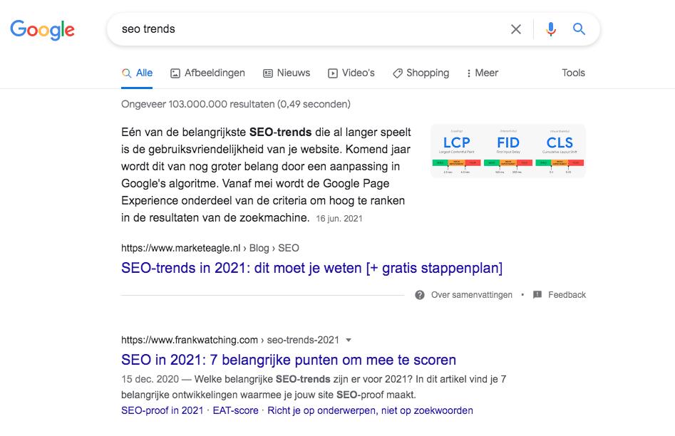 Screenshot van zoekresultaat voor zoekterm 'SEO trends' met op positie 2 het artikel van FrankWatching.