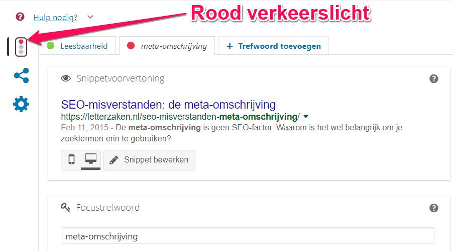 Dit artikel krijgt een rood verkeerslicht in Yoast, maar scoort wel in de top 10 van Google