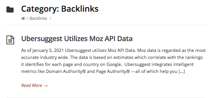 """Ubersuggest utilizes Moz API data"", aldus de kennisbank."