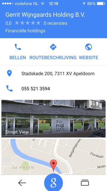 Bedrijfsgegevens in mobiele versie Local Stack