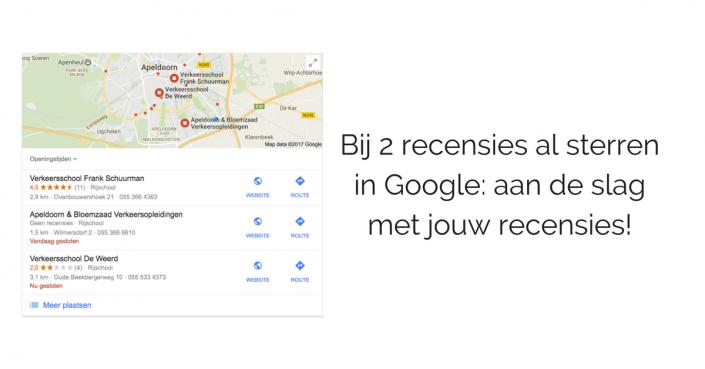 Bij 2 recensies al sterren in Google- aan de slag met jouw recensies!
