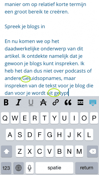 Blogs dicteren WordPress iOS app - spelfouten