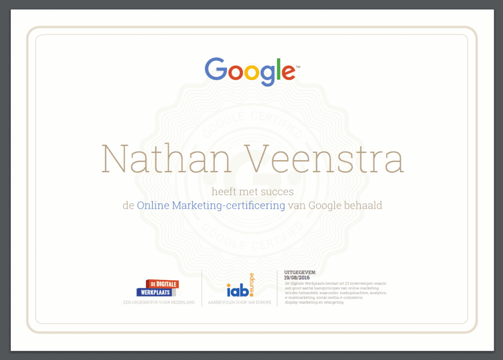 Certificaat Googles Digitale Werkplaats