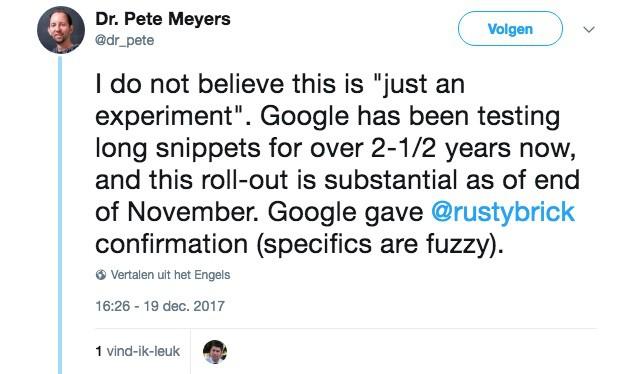Tweet van Dr. Pete Meyers van Moz over de nieuwe langere meta-omschrijvingen