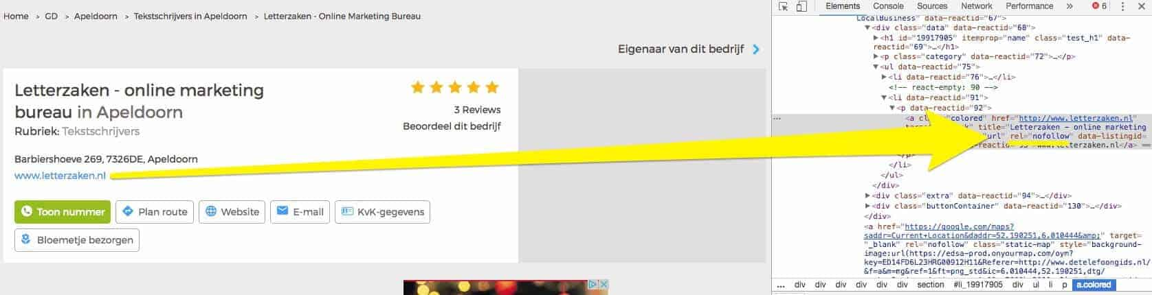 DTG voegt rel=nofollow toe aan link gratis vermelding detelefoongids.nl