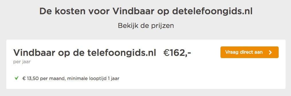 Jaarlijkse kosten voor detelefoongids.nl: 162 euro