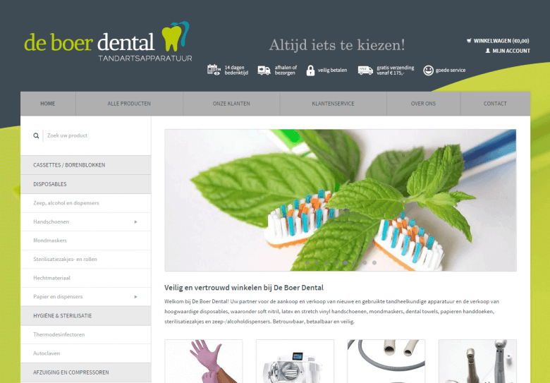 Deboerdental.nl destop website