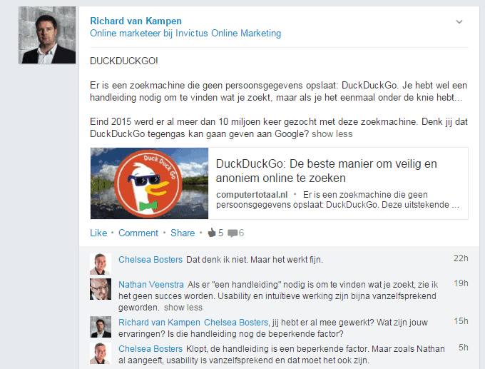 DuckDuckGo discussie op LinkedIn