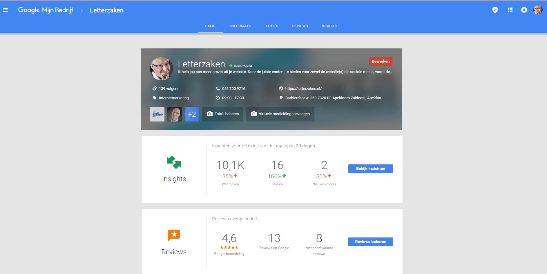 Doe meer met Google Mijn Bedrijf: jouw beheeromgeving