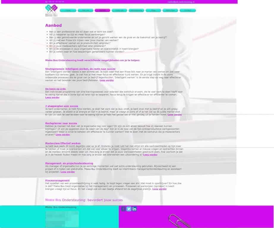 Veel tekst en geen call to action - een typische doodlopende webpagina