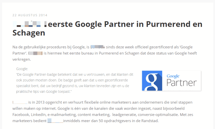 Eerste Google Partner in...