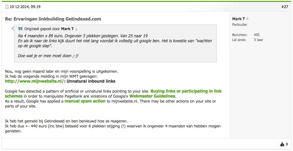 Screenshot van het forum Sitedeals.nl waar een deelnemer bevestigt een handmatige actie van Google te hebben ontvangen. In een eerder bericht gaf hij aan dat het een kwestie van tijd zou zijn.
