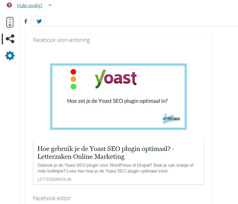 Facebook voorvertoning in Yoast SEO Premium