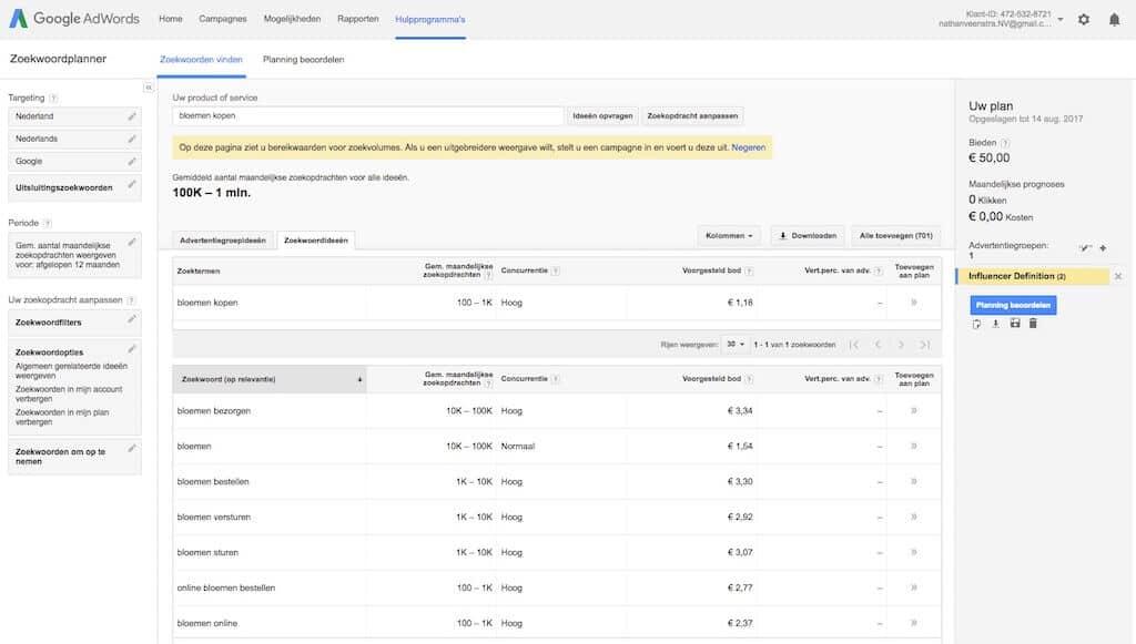 Google AdWords Zoekwoordplanner geeft enkel nog ranges (reeksen) weer