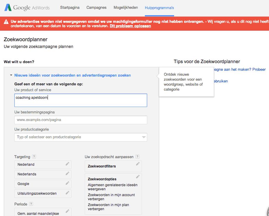 Google Adwords Zoekwoordplanner - Zelf zoektermen-onderzoek doen