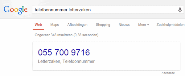 Google Answer box telefoonnummer Letterzaken