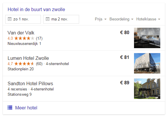 Google Hotel Finder resultaten voor