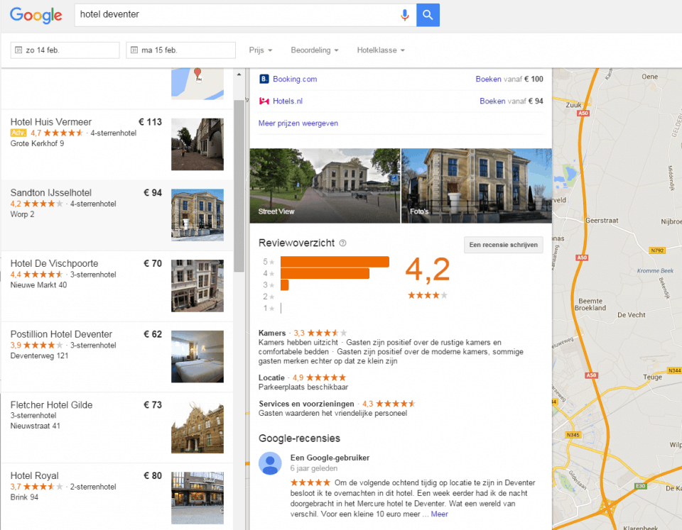 Google Hotel Finder hotel deventer met TrustYou samenvatting