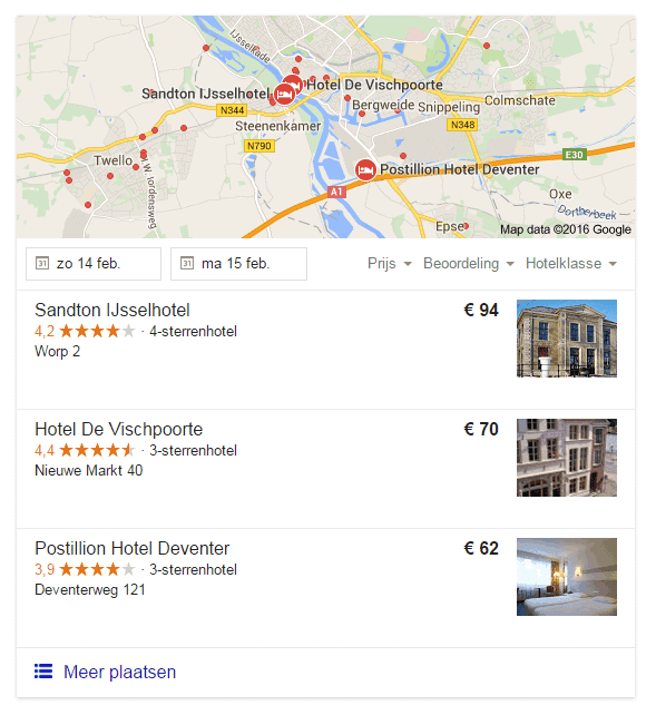 Google Hotel Finder voor hotel deventer met google-recensies