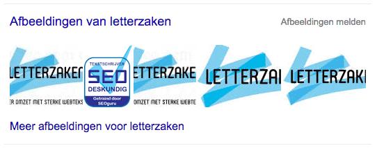 Google Images resultaat Letterzaken in SERP