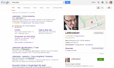 Google Knowledge Graph Box - Letterzaken