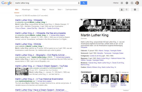 Google Knowledge Graph box MLK 20 april 2015