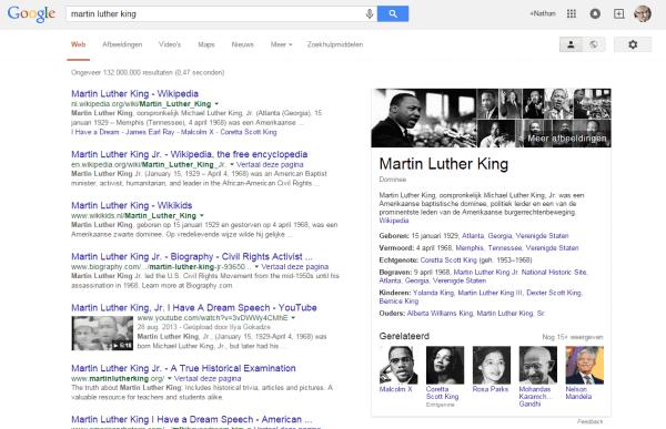 Google Knowledge Graph box MLK 20 april 2015