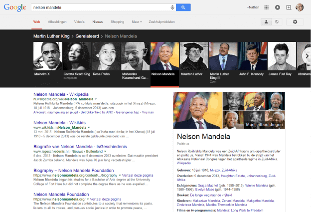 Google Knowledge Graph carrousel Nelson Mandela 20 april 2015