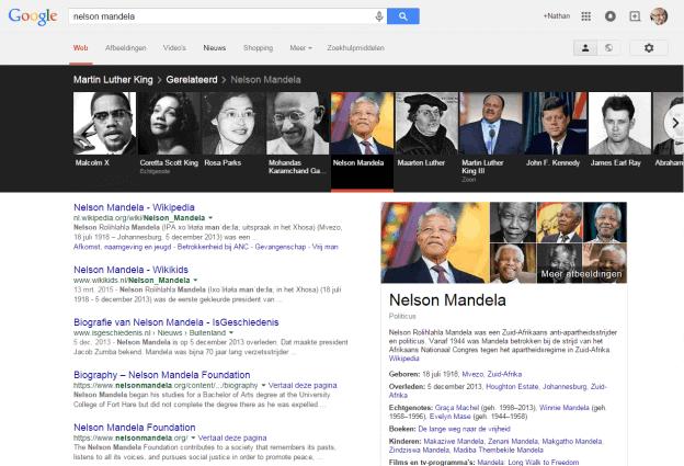 Google Knowledge Graph carrousel Nelson Mandela 20 april 2015.