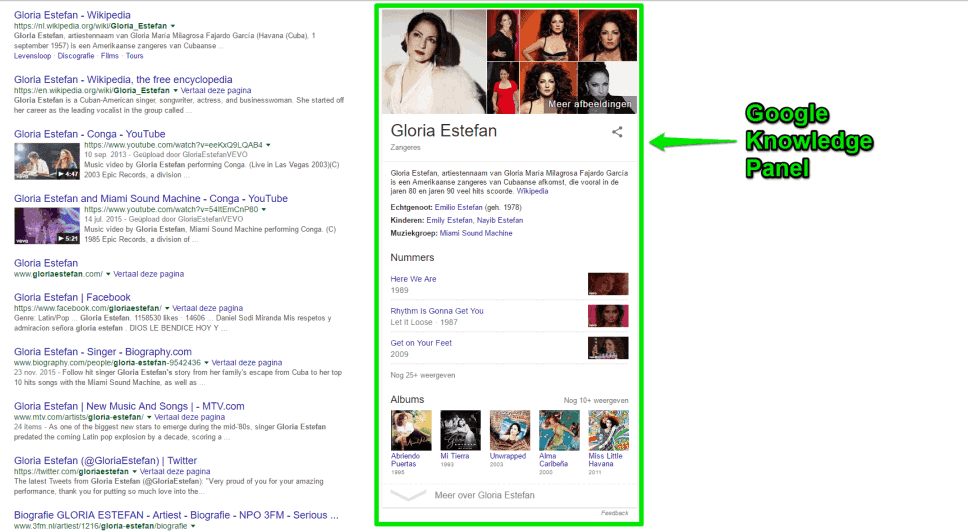 Google Knowledge Panel over Gloria Estefan