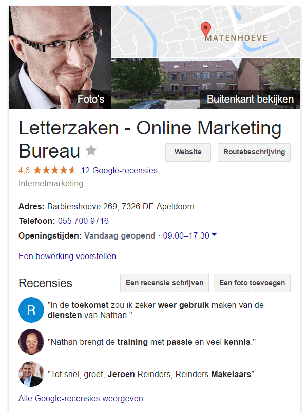 Knowledge Panel Letterzaken online marketing met quotes uit Google recensies.