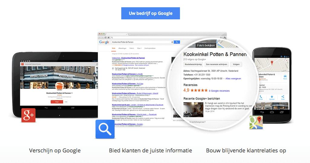 Google Mijn Bedrijf met omschrijving