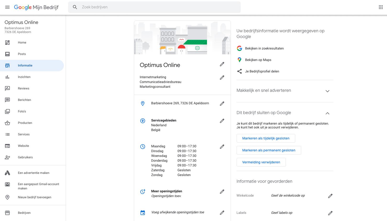 Schermafbeelding van Google Mijn Bedrijf in onderdeel 'Informatie' met alle basisinformatie inclusief openingstijden.