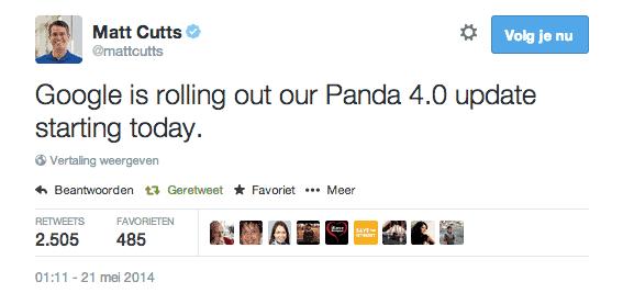 Google Panda 4.0 aankondiging Matt Cutts 20 mei 21 mei 2014