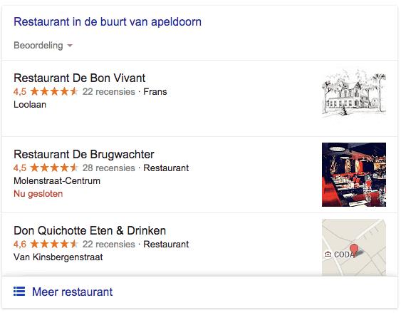 Google Snack Pack bij zoekresultaat voor